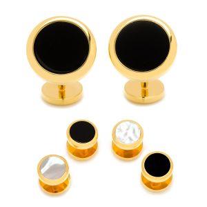 Double Sided Gold Onyx Round Beveled Stud Set