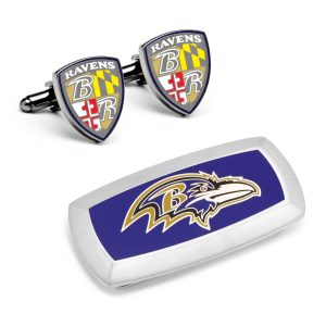 Baltimore Ravens Cufflinks and Cushion Money Clip Gift Set