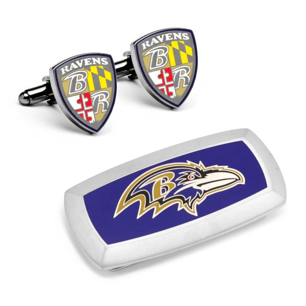 Baltimore Ravens Cufflinks and Cushion Money Clip Gift Set