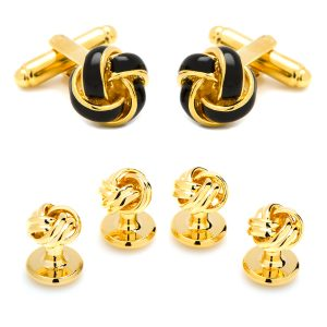 Black and Gold Knot Stud Set