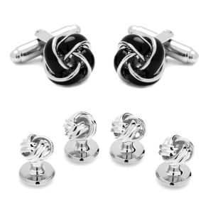 Black and Silver Knot Stud Set