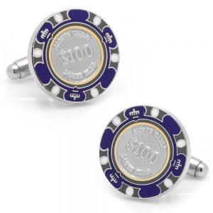 $100 Purple Poker Chip Cufflinks