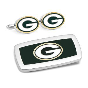 Green Bay Packers Cufflinks and Cushion Money Clip Gift Set