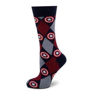 Captain America Navy Argyle Stripe Socks