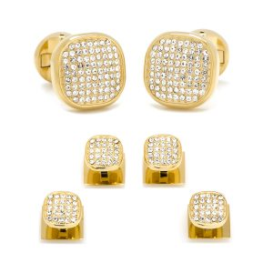Gold Pave Crystal Cufflinks and Studs Set