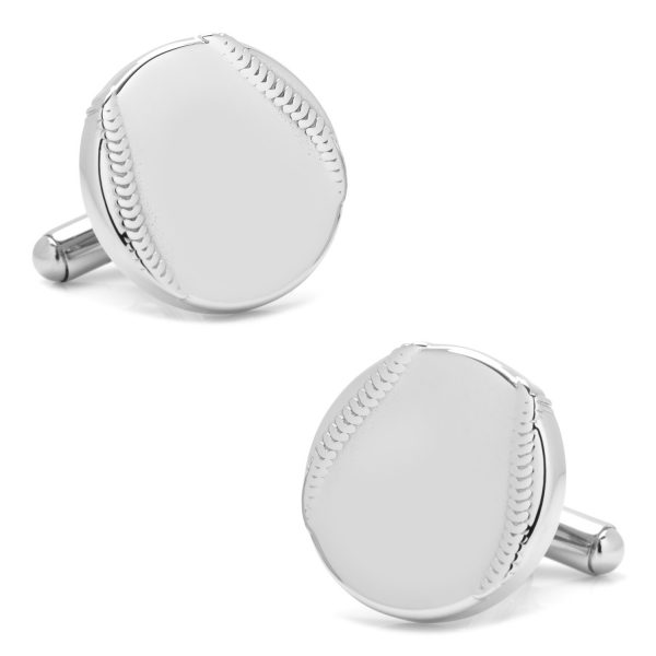 Stainless Steel Engravable Baseball Cufflinks