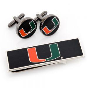 U of Miami Hurricanes Cufflinks and Money Clip Gift Set