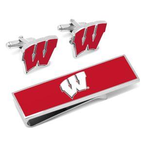 U of Wisconsin Badgers Cufflinks and Money Clip Gift Set