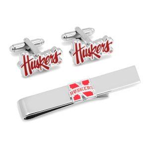 University of Nebraska Cornhuskers Cufflinks and Tie Bar Gif